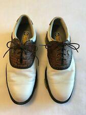 FootJoy Dryjoys Tour Men's Leather White & Brown Golf Shoes 53612 - Size 8.5M