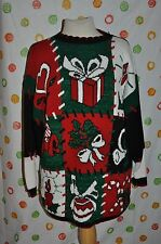 VTG Medium UGLY HOLIDAY TIME CHRISTMAS HEART GIFTS CANDLE TACKY SWEATER