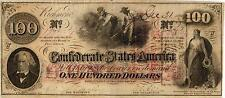 "1862 $100.00 Confederate States of America ""Negroes Hoeing Cotton"" T-41-316A  XF"