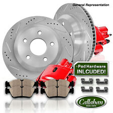 Front Red Brake Calipers And Rotors + Pads Jeep Cherokee Grand Cherokee Wrangler