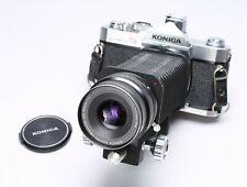 KONICA AUTOREFLEX T3 35MM CAMERA + BELLOWS 2 + 105MM F/4 MACRO HEXANON LENS