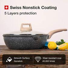 "9.5"" Nonstick Deep Frying Pan Saute Pan with Glass Lid, Non-Stick Jumbo Cooker"
