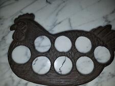 "Rustic Cast Iron Chicken Egg Holder / Trivet 9 1/2""wide Kitchen Decor"