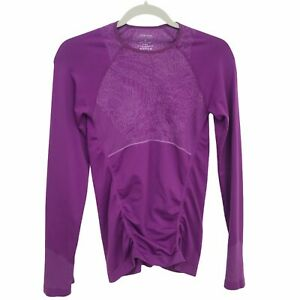 Title Nine Workout Top Small Crew Neck Thumbholes Ruching Purple
