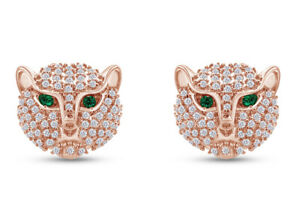 Simulated Emerald & Cubic Zirconia Panther Head Stud Earrings in 18k Gold Over