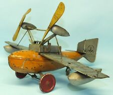 RARE 1930s PRE WAR BING AMPHIBIAN LAND & SEAPLANE TIN WINDUP TOY AIR PLANE