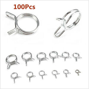 Hose Clamp Accessories Stainless Steel Water Fuel Tube Pipe Spring Clip 100Pcs