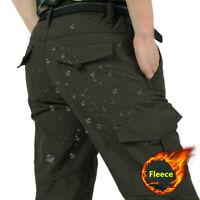 Mens Winter Warm Tactical Fleece Lined Climbing Pants Waterproof Cargo Trousers