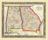 Georgia Alabama - Mitchell 1860 - 23.00 x 27.85