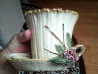 Vintage McCoy White Planter with Flowers