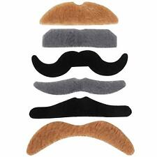 6PK Stick on Coloured Fake Mustache Self Adhesive Fancy Dress Party 70's 80's