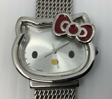 Sanrio Hello Kitty Wrist Watch 2011 With Stainless Steel Adjustable Band Red Bow