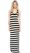 Norma Kamali Black/Off White Stripe Racerback Maxi Dress Sz S NWT