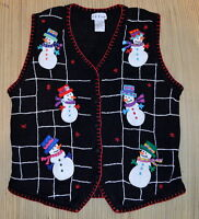 B. P. Design Ugly Tacky Christmas Sweater Vest XL Holiday Applique Snowmen