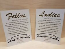 2 pack Wedding Bathroom basket sign Ladies Gents Wedding Sign personalised sign