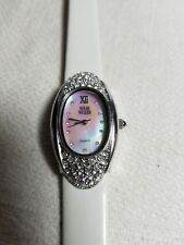 NOLAN MILLER WATCH White  MOTHER OF PEARL CRYSTALS Sterling