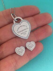 Tiffany & Co 18KGold & Diamonds MEDIUM Heart Necklace &  Heart Stud Earrings Set