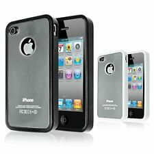 CLEAR PLASTIC & TPU GEL BUMPER STYLE FRAME BACK CASE COVER FOR IPHONE 4S 4