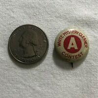 White Mystery Cleaner A Contest Vintage Pinback Button #36656