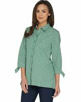 Susan Graver Womens Yarn Dyed Gingham Button Front Shirt 6 Vivid Green A302640