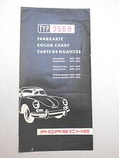 Tipo Porsche 356 B mappa dei colori-prospetto catalogo 1959-ORIGINALE