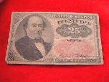 1874 25 Cents Fractional Currency Fifth Issue Nice Red Seal Note! #20