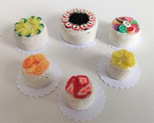 1:12 Kuchen Obst-Torten 6 Stück - Miniaturen für Puppenhaus Puppenstube