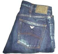 Mens AJ ARMANI Distressed Dark Blue Denim Jeans W34 L31 Straight Leg