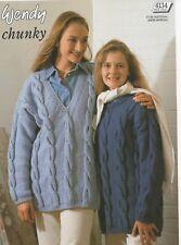 "28-42 /"" Grueso Tejer patrón Wendy 4134 Sloppy Joe Sweaters 71-107cm"