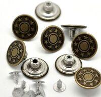 Lot de 10 Boutons  pression Jean - Boutons Etoile Metal Couleur Bronze