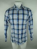 Banana Republic Men M Blue Non-Iron Tailored Slim Fit Plaid Button-Front Shirt