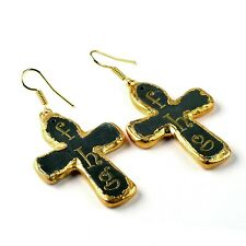 Gunmetal Christian Cross Women Fashion Gold Plated Design Dangle Hanging Earring