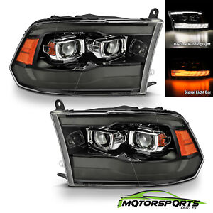 For 09-18 Dodge Ram Polished Black Smoke LED Switchback DRL Projector Headlights
