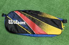 Wilson Tennis Racquet Racket Bag Blue Yellow Black Shoulder Strap Holds 3+