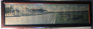 Vintage 1930s Hialeah Park Miami Florida Horse Racing Track Large Framed Picture