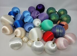 Lot of 30 Vintage Satin Thread Wrapped Styrofoam Christmas Ball Ornaments Crafts