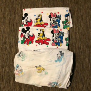 VTG (2) Disney Babies Mickey Mouse & Friends Blankets & (1) Fitted Sheet Dundee