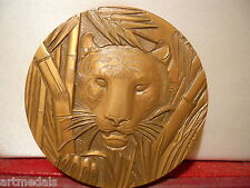 Rare French Bronze Medal The TIGER Wild Animals by Bloc
