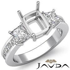 3 Stone Diamond Wedding Ring 18k White Gold Princess Cushion Semi Mount 1.1Ct