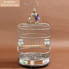 Large Deluxe 40 cm Stainless Steel  Round Bird Cage New