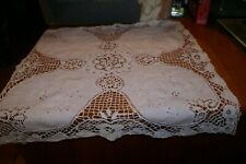 """VINTAGE Lace Table Topper Tablecloth 25"""" X 25"""" BEAUTIFUL"""