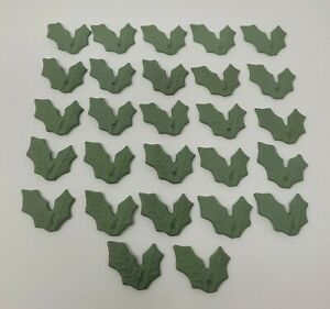 27 Pièces Vert Porcelaine Céramique Double Rose Feuilles Vtg Cabochon Camées As