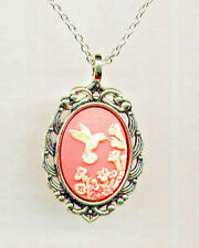 VINTAGE JEWELRY - Faux Coral Ivory Hummingbird Cameo Pendant Silver Necklace