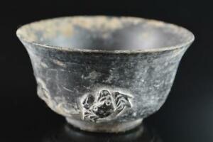 L962: Japanese Old Kiyomizu-ware Youhen pattern Crab-shaped TEA CUP Senchawan