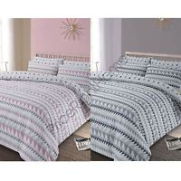 REWIND GEOMETRIC DUVET COVER SET GREY / BLUSH PINK - SINGLE, DOUBLE & KING SIZE