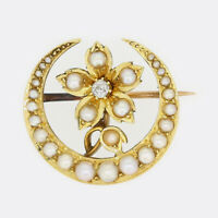 Pearl Gold Brooch - Victorian Natural Pearl Diamond Crescent Flower 15ct Gold