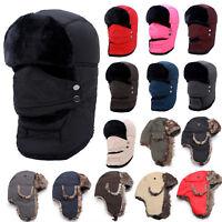 Mens Womens Winter Warm Fur Hat Trapper Aviator Trooper Earflap Russian Ski Cap