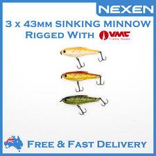3 x NEXEN Hardbody Sinking Minnow Bream Lure Saltwater Freshwater Strike Pro
