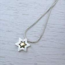 Star Of David Necklace Sterling Silver and 14K Gold by Michael Bromberg