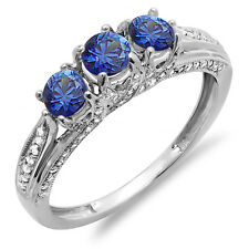 14k Gold Diamond And Sapphire Ladies Vintage Bridal Engagement Ring Size 8